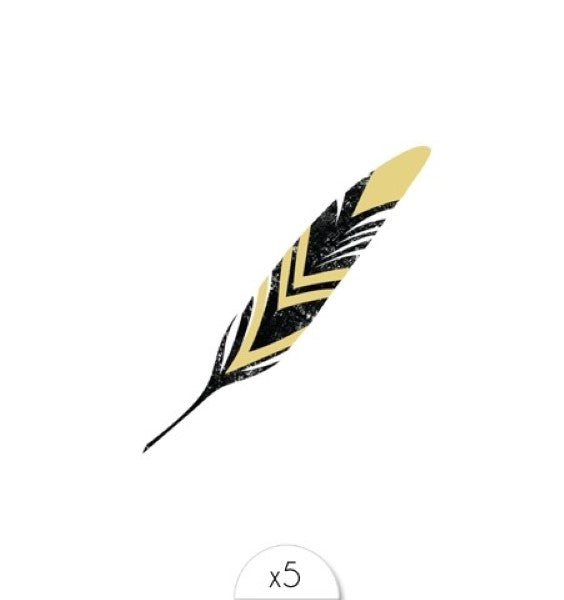Tattoos «GOLD AND BLACK FEATHER» von Sioou