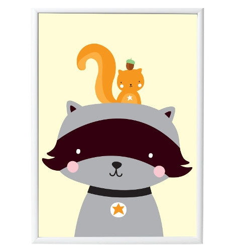 Poster «RACCOON & CO.» von A Little Lovely Company - weloveyoulove