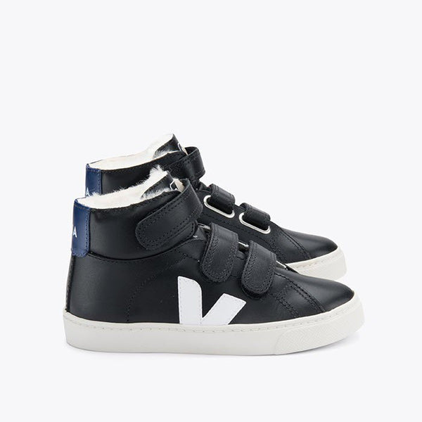 Sneaker Kids Esplar Mid Fured, Leather Black/White Cobalt von Veja