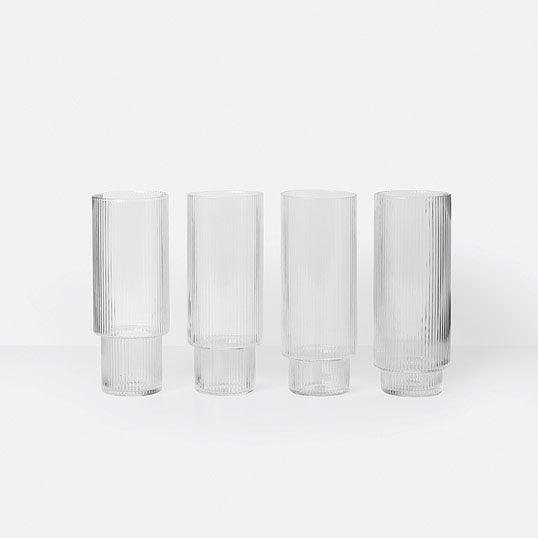 «Ripple» Long Drink Gläser 4er Set von Ferm Living
