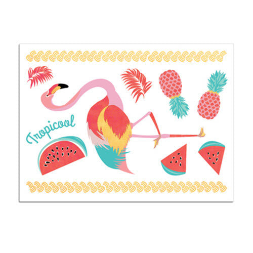 Tattoos «Mini-Set Flamingo» von Sioou