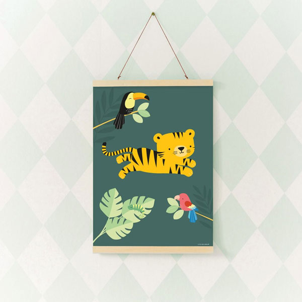 Poster «Jungle Tiger» von A Little Lovely Company