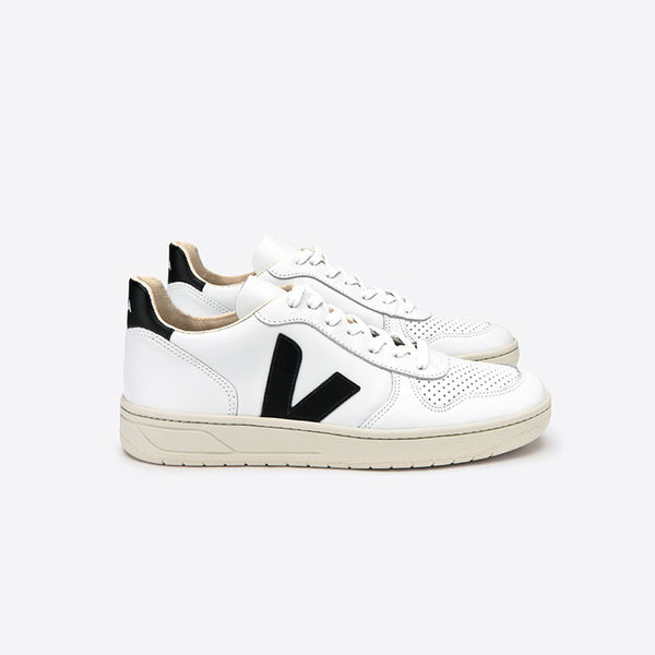 Sneaker V-10, Leather, Extra White Black von Veja