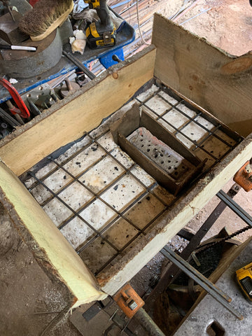 An image of the reinforcement bars which help support the poured ceiling of the forge by Wicks Forge