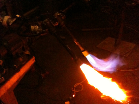 Test firing and tuning the first burners we ever used, a homemade venturi style burner system.