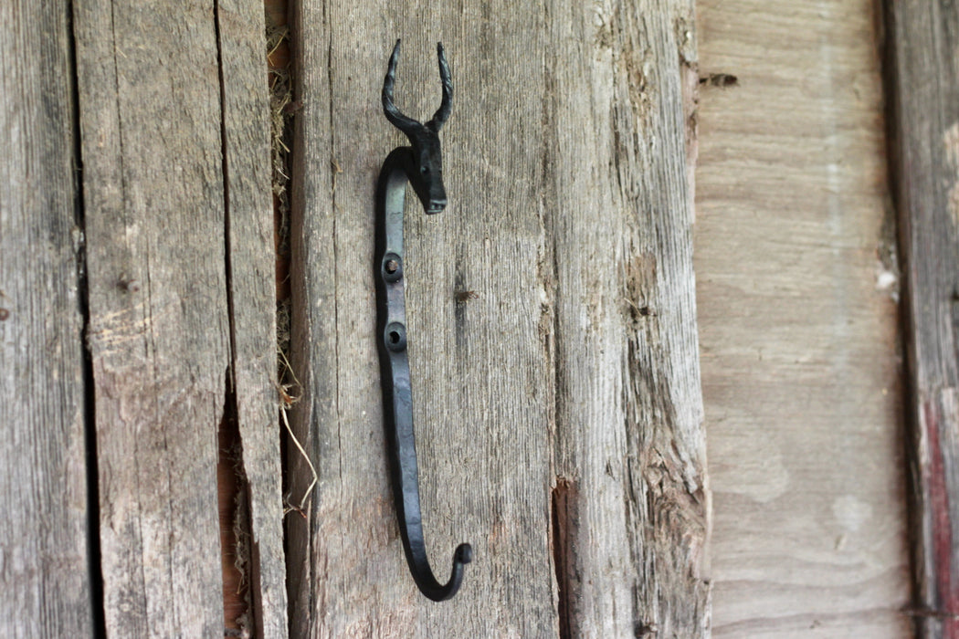 A blacksmith hand forged Antelope style animal head hook by Wicks Forge