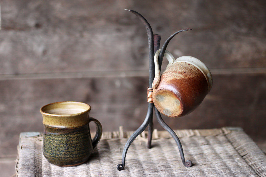 a blacksmith hand forged coffee mug and tea cup display tree by Wicks Forge