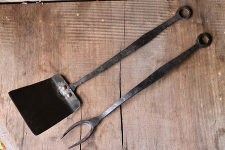 a blacksmith hand forged Spatula and BBQ Fork by Wicks Forge