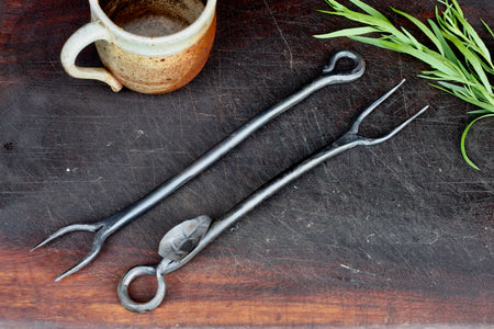 Blacksmith hand forged BBQ Cooking Forks with handmade leaf and curl handles by Wicks Forge