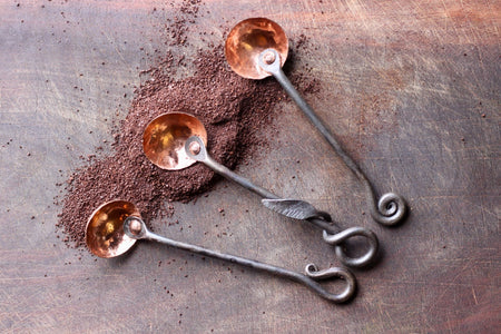 3 styles of blacksmith hand forged copper and steel coffee scoops by Wicks Forge