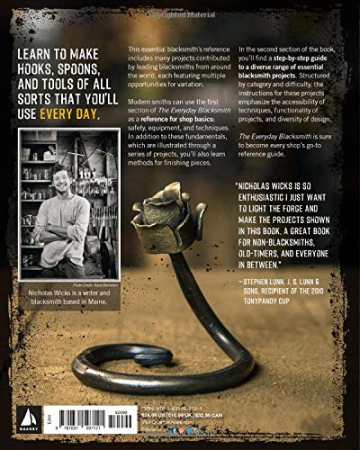 Back cover of The Everyday Blacksmith: Learn to forge 55 simple projects you'll use every day