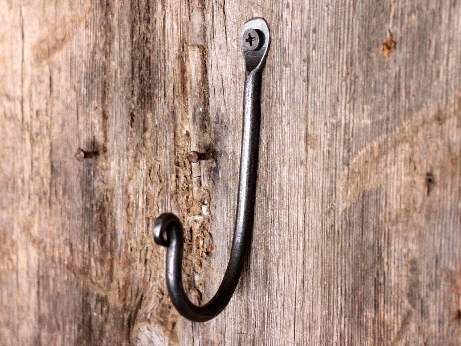 a traditional blacksmith wall hook hand forged by Wicks Forge