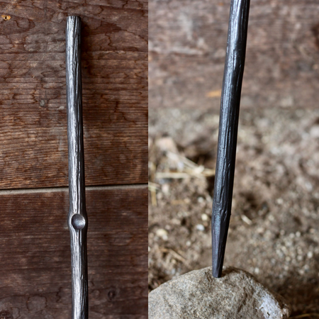 a blacksmith hand forged fire stick style fire poker by Wicks Forge