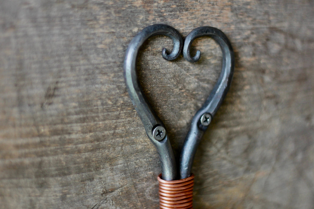 Steel and Copper Double Wall Hook - Heart Shaped