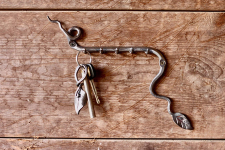 a blacksmith hand forged leafy key rack by Wicks Forge