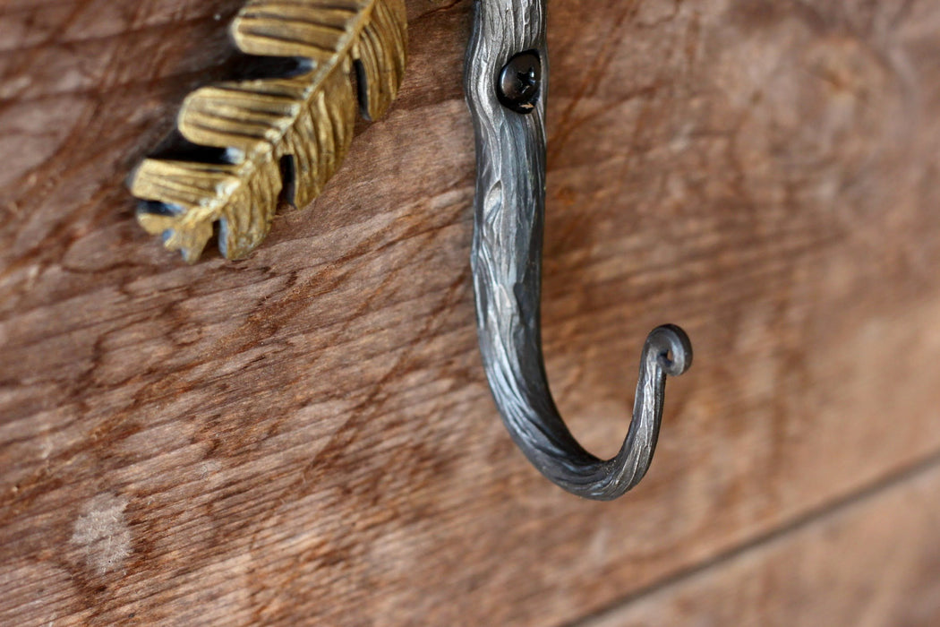 a blacksmith hand forged oak leaf hook from the Wicks Forge Limited Series