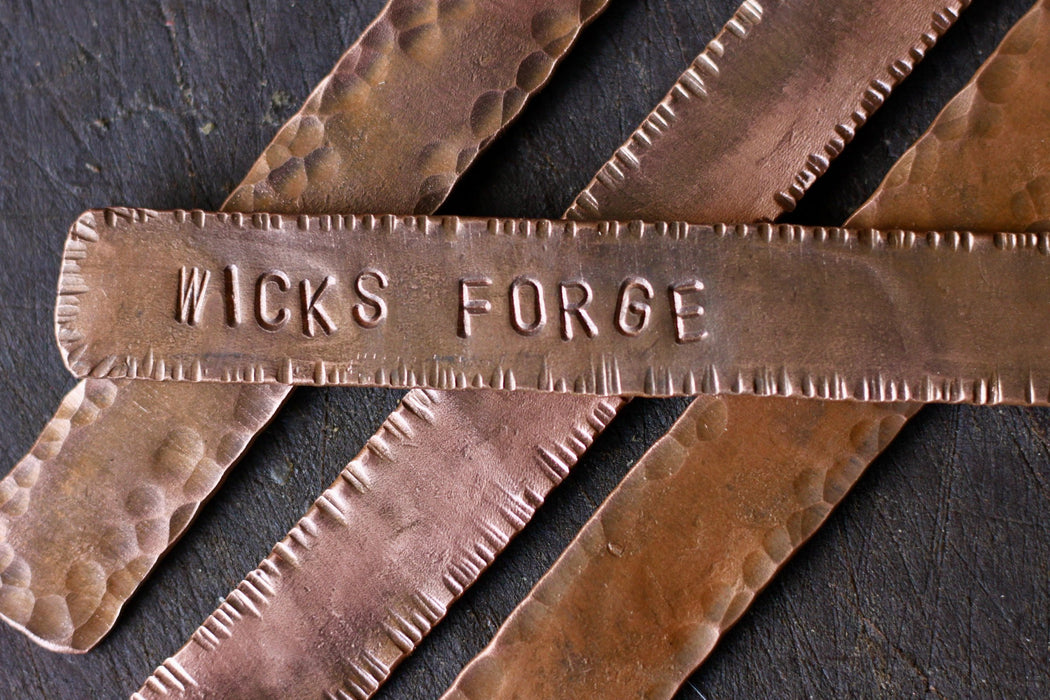 blacksmith hand forged personalized copper bookmarks by Wicks Forge