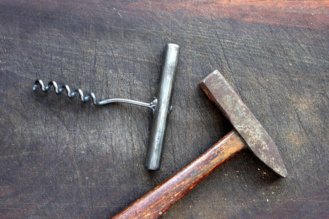 a blacksmith hand forged corkscrew by Wicks Forge
