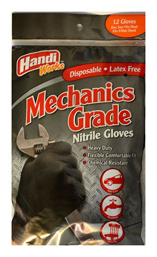 "Handi-Works™ 12 count Disposable Heavy Duty Nitrile Mechanics Grade ""Latex Free"""