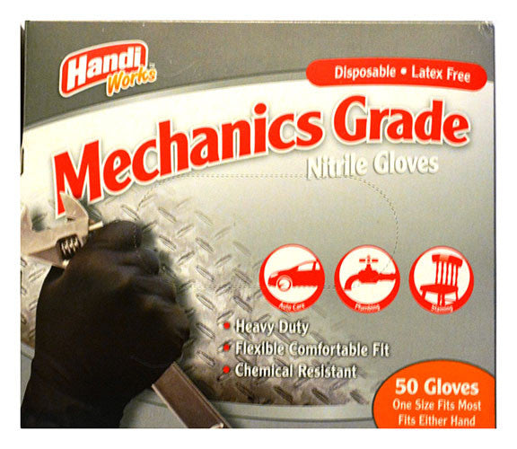 "Handi-Works™ 50 count Disposable Heavy Duty Nitrile Mechanics Grade ""Latex Free"""
