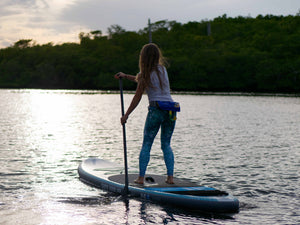 Paddler on stable Earth River SUP board