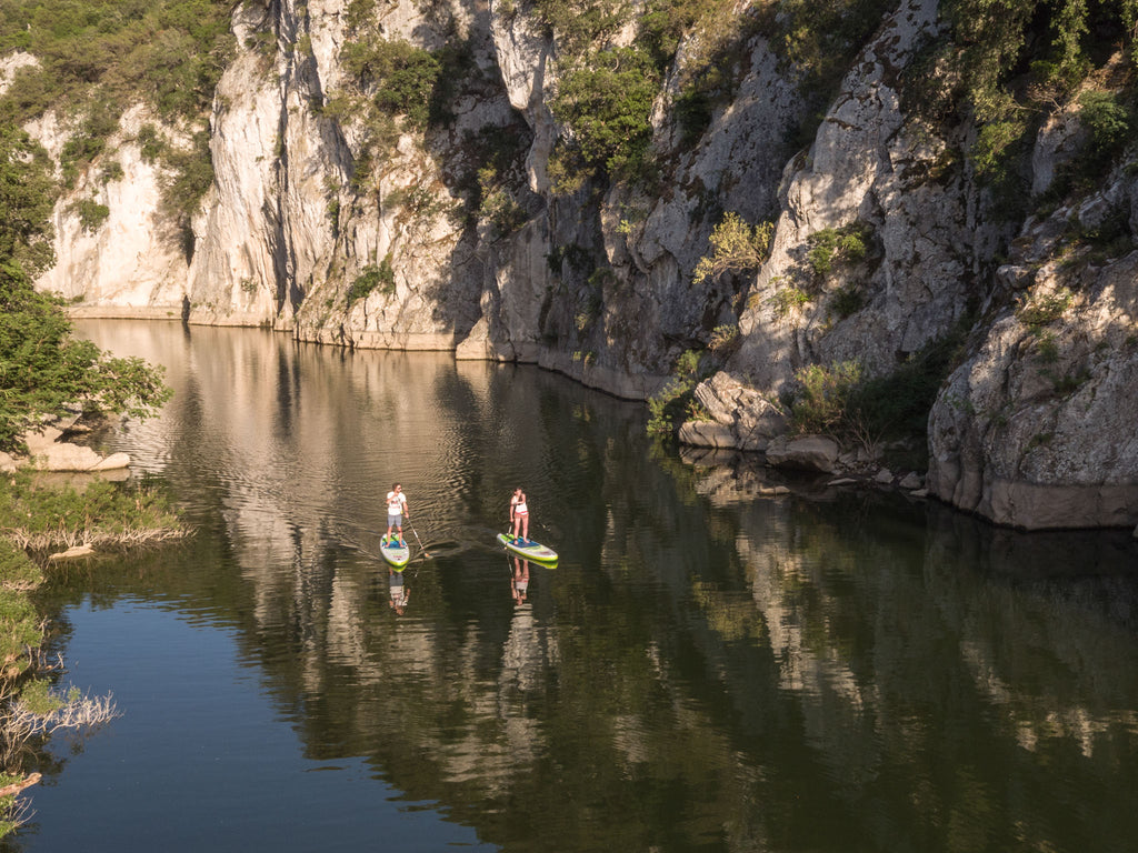 6 inch thick touring SUP on a river