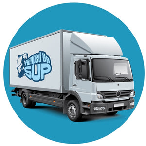 Truck with Pumped Up SUP logo to visualize free shipping