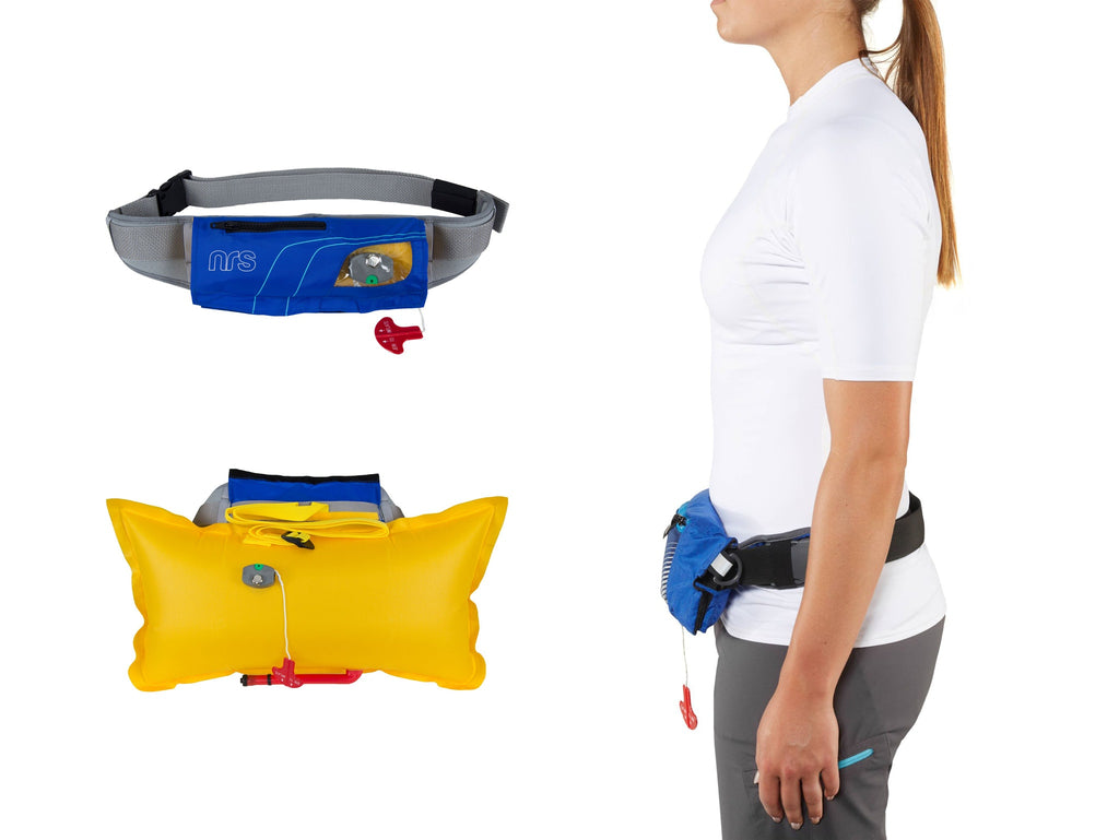 NRS Zephyr Belt Pack PFD Fitting on a person