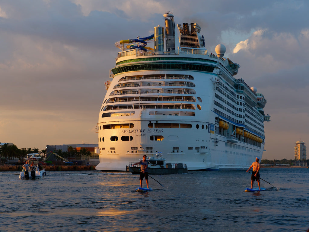Paddling near a cruise ship on ERS boards