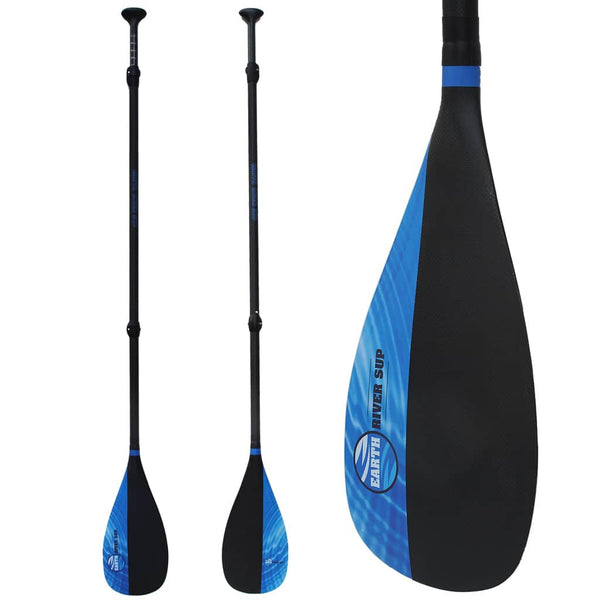 Earth River SUP Carbon Black V2 - FULL Carbon Paddle - Blue Lake