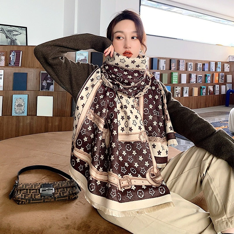 2020 Winter Fashion Stars Pattern Shawl Wrap Scarf