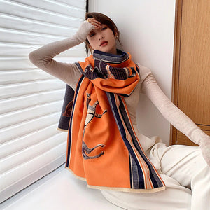 2020 Fashion Luxury Horse Pattern Pashmina Reversible Scarf