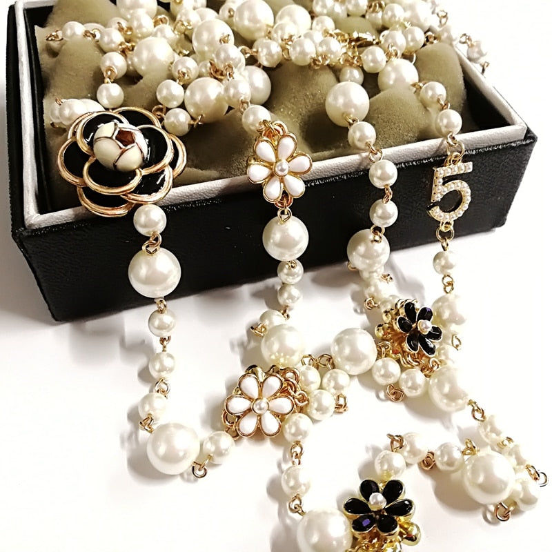Fashion Luxury Simulated Pearl Double Layer Pendant Long Necklace