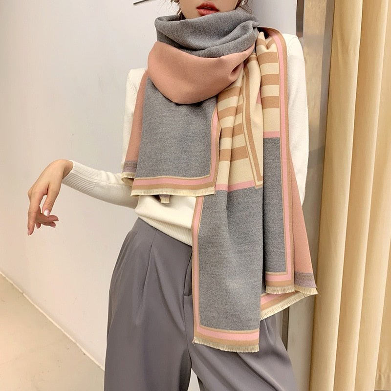 2020 Luxury Striped Pashmina Scarf