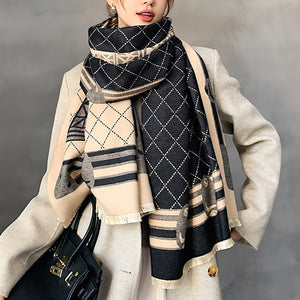 2020 New Winter Tower Print Double-Sided Scarf