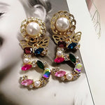 Fashion 5 Digital Baroque Pearl Butterfly Drop Dangle Crystal Earrings/Serials