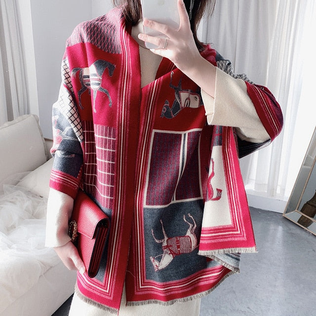 2020 Fashion Luxury Horse Pattern Shawl Pashmina Scarf