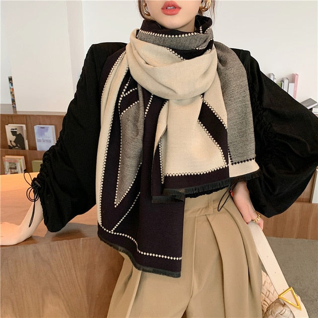 2020 Luxury Fashion Winter Scarf Geometric V-shaped Shawl Pashmina Scarf