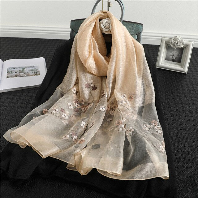 2021 Fashion Floral Real Silk Headband Pashmina Shawl Wraps Scarf