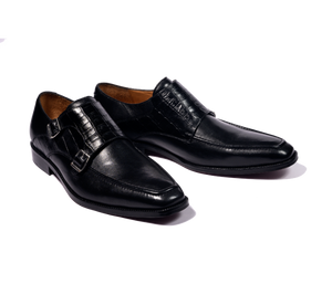 Handcrafted Black leather double monkstraps with croc vamp