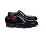 Load image into Gallery viewer, Handcrafted Black leather double monkstraps with croc vamp