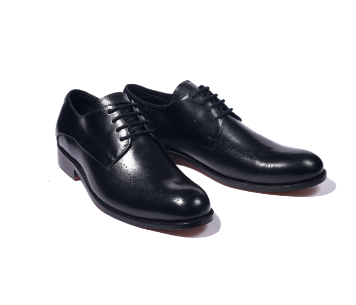 Black Leather derby with detailed broguing
