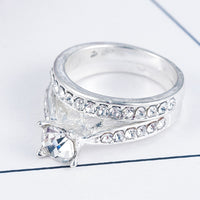 Crystal Engagement Wedding Ring
