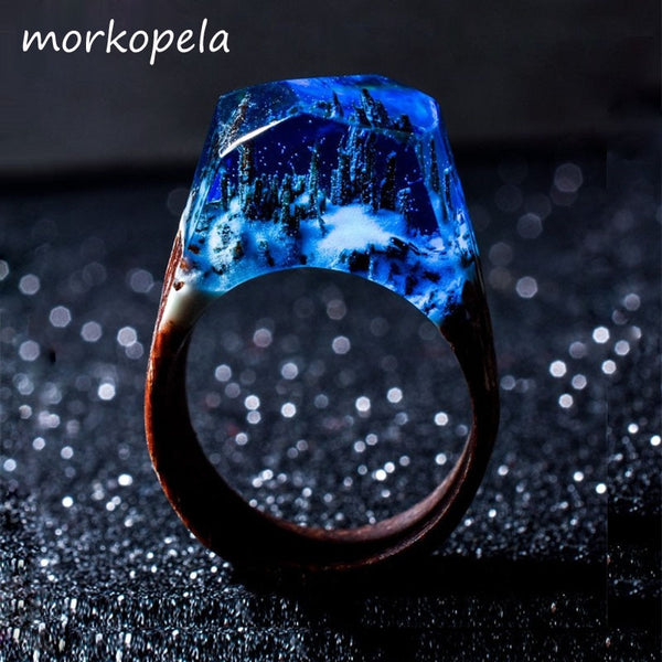 Wood Resin Stone Ring