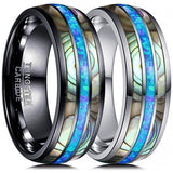 Tungsten Carbide Abalone Shell Ring