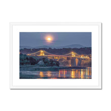 Load image into Gallery viewer, Full moon rising over Menai Framed & Mounted Print