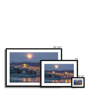 Full moon rising over Menai Framed & Mounted Print