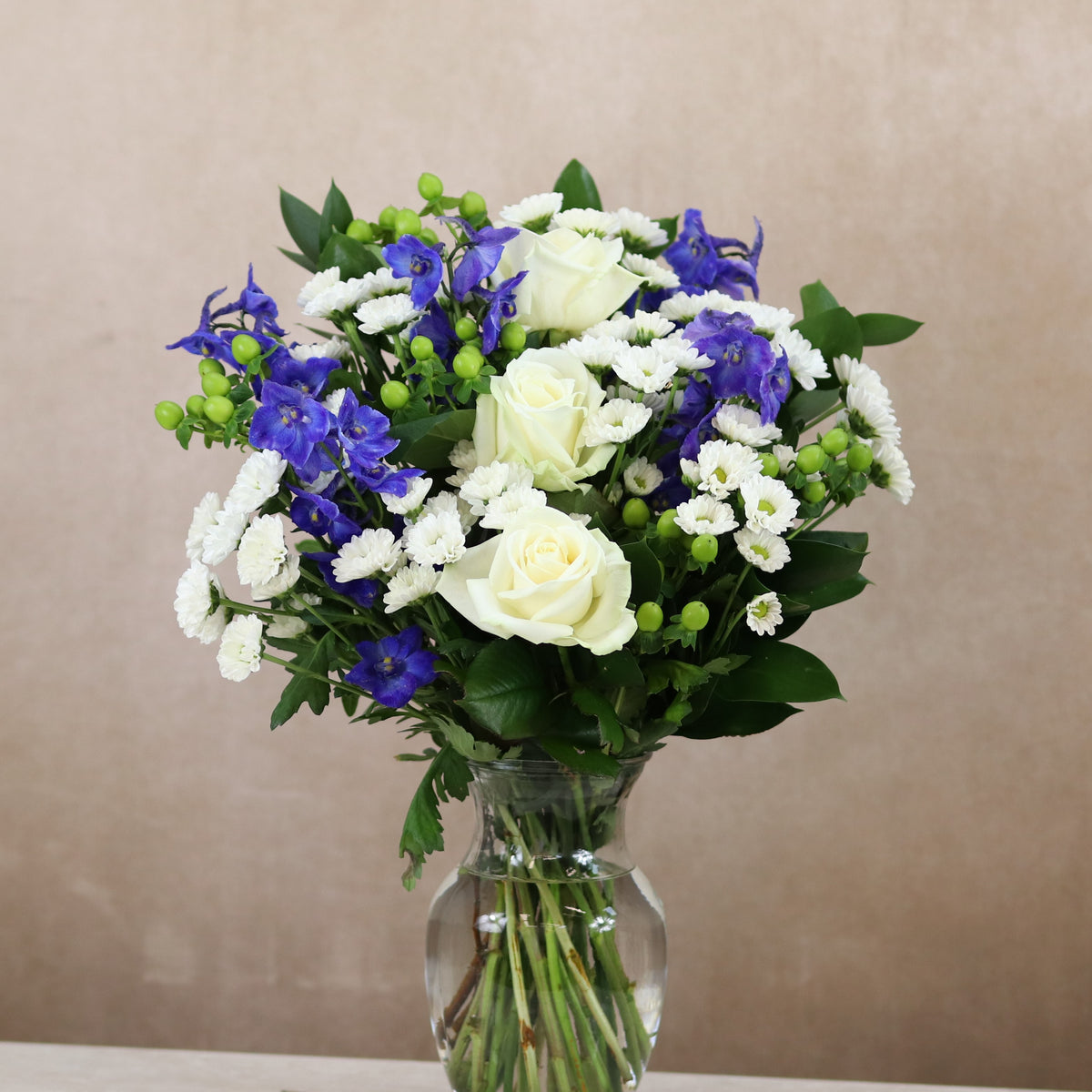 White Roses Blue Delphiniums Bouquet Nova Blooms Uk