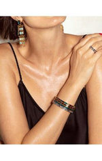 Kendra Scott Jack Cuff Vintage Gold Charcoal Gray Crystal