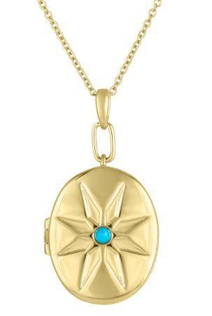 My Story The Cheryl Locket in Turquoise 14K Yellow Gold